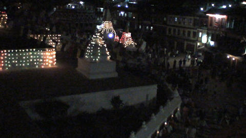 Boudha stupa at night during Buddha's birthday Stock Video Footage