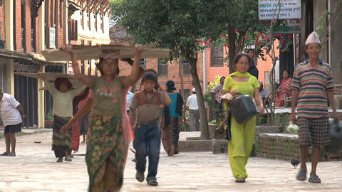 People and working woman walking down the street Stock Video Footage
