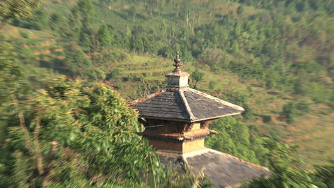 Zoom out from a temple Stock Video Footage