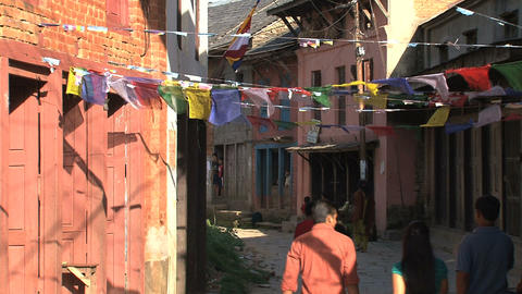 People walking in the streets of Bandipur Footage