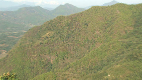 Zoom out from a mountain from the city Bandipur Stock Video Footage