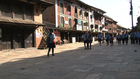 Schoolkids in the street of Bandipur Stock Video Footage