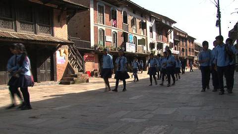 Schoolkids in the street of Bandipur Footage