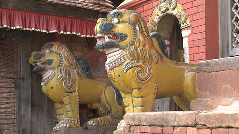 Lion statues in front of a temple Stock Video Footage