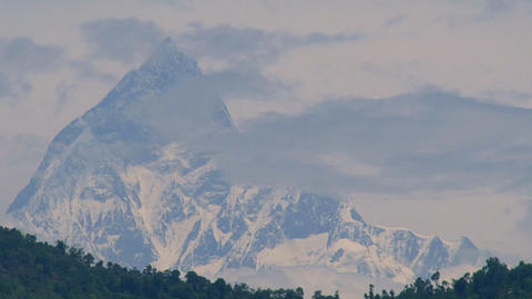 Mount fishtail cloudy time lapse Stock Video Footage