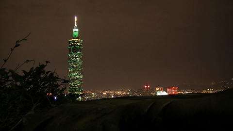taipei 101 tower timelapse slider at night Footage