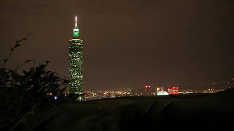 taipei 101 tower timelapse slider at night Footage