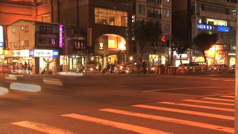 Taipei downtown traffic evening Stock Video Footage