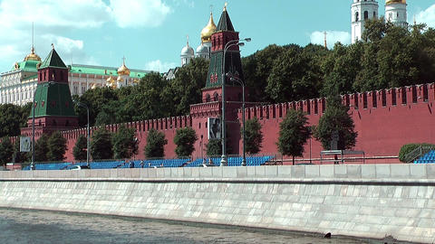 Moscow Kremlin Seen From A Moving Boat On The Moskva River stock footage