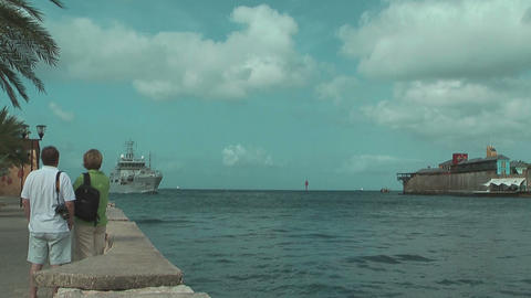 support vessel of the Royal Netherlands Navy arriving at... Stock Video Footage