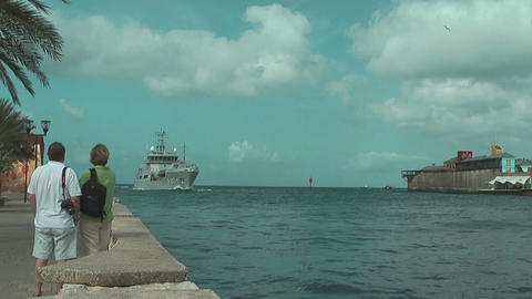 support vessel of the Royal Netherlands Navy arriving at willemstad harbor Footage