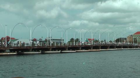 Queen Emma Pontoon Bridge in Willemstad, Curacao Stock Video Footage
