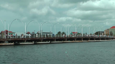 Queen Emma Pontoon Bridge in Willemstad, Curacao Footage