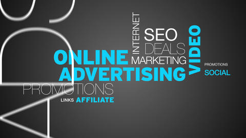 Online Advertising Word Cloud Animation Stock Video Footage