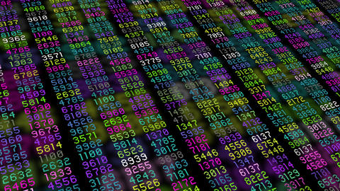 Data stream numbers computer multiple color Animation