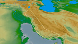 Revolution around Zagros mountain range - glowed. Colored physical map Animation