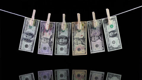 Dirty US dollar banknotes Footage