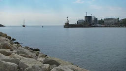 Panorama of a bay in Constanta, Romania, slow motion tilt Footage