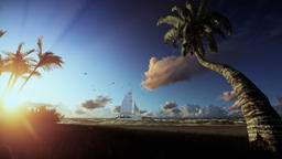 Tropical island, palm trees blowing in the wind and yacht sailing at sunrise Animation