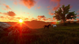 Two horses on green meadow and tree of life, beautiful sunset Animation