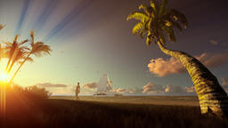 Tropical landscape with yacht sailing, palm trees and woman walking on the beach Animation