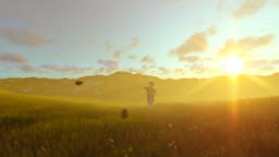 Little boy with airplane toy on a green meadow at golden hour Animation