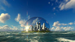 Modern city in a glass dome on ocean, timelapse sunrise Animation