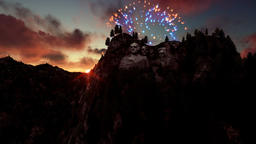 Mount Rushmore, 4th of July Fireworks at sunrise Animation