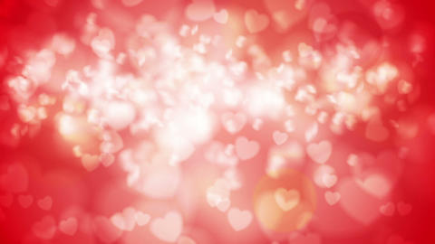 Bright red glowing bokeh hearts video animation Animation