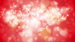 Bright red glowing bokeh hearts video animation, Stock Animation