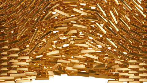 Crumbling gold bars in slow motion Animation