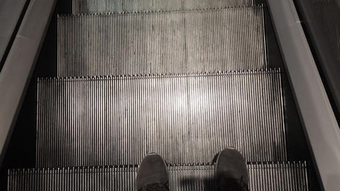 Feet Walking On Escalator at Shopping Mall Live Action