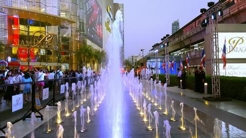 BANGKOK, THAILAND - 3 MAR 2016: beautiful water fountain colored by flashing mul Footage