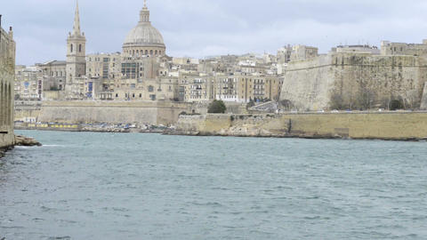 View toward the historic city of Valletta, Malta Footage