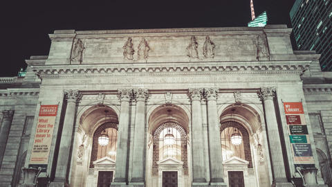 New York City , USA, Hyperlapse - New York Public Library Footage