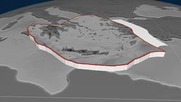 Aegean Sea tectonic plate. Elevation Animation
