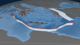 Aegean Sea tectonic plate. Elevation and bathymetry Animation