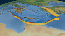 Aegean Sea tectonic plate. Natural Earth Animation