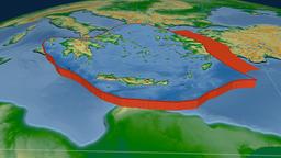 Aegean Sea tectonic plate. Physical Animation
