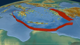 Aegean Sea tectonic plate. Relief Animation