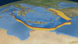 Aegean Sea tectonic plate. Satellite imagery Animation
