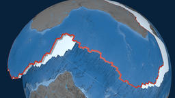 Africa tectonic plate. Elevation and bathymetry Animation