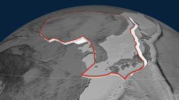 Amur tectonic plate. Elevation Animation