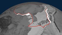 Amur tectonic plate. Elevation Animation