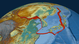 Amur tectonic plate. Relief Animation