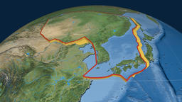 Amur tectonic plate. Satellite imagery Animation