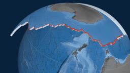 Antarctica tectonic plate. Elevation and bathymetry Animation
