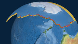 Antarctica tectonic plate. Natural Earth Animation