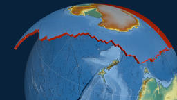 Antarctica tectonic plate. Relief Animation