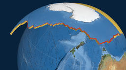 Antarctica tectonic plate. Satellite imagery Animation